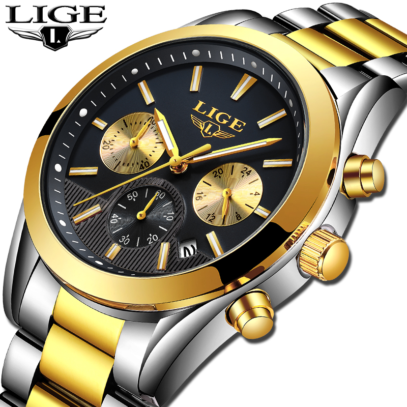 NEW LIGE Watch Men Sport Quartz Clock Mens Watches Top Brand Luxury Full Steel Waterproof Business Watch Relogio Masculino new guanqin mens watches top brand luxury man business quartz watch men sport stainless steel waterproof clock relogio masculino