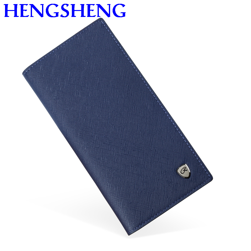 Free Shipping HENGSHENG Blue Men Long Wallet With Quality Leather Photo Holder Wallet Male For Business Men Wallets