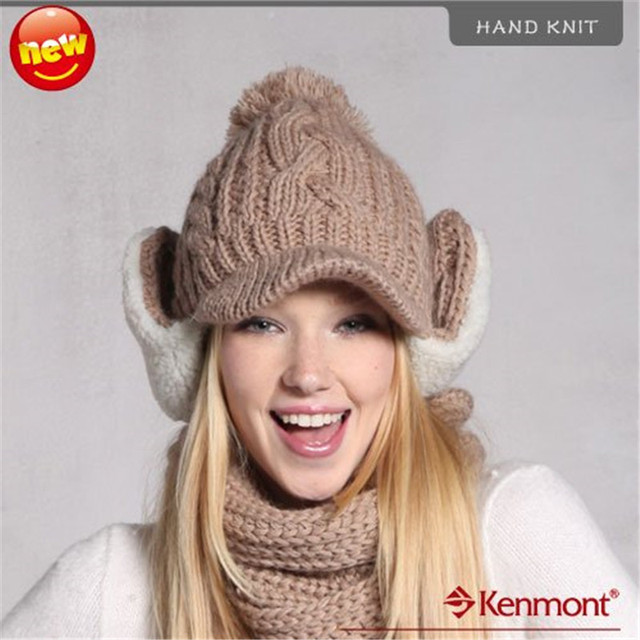 Holiday Sale New Arrival Brand Winter Wool Hat, Hand Knit Winter Earflap Cap KM 1219-45