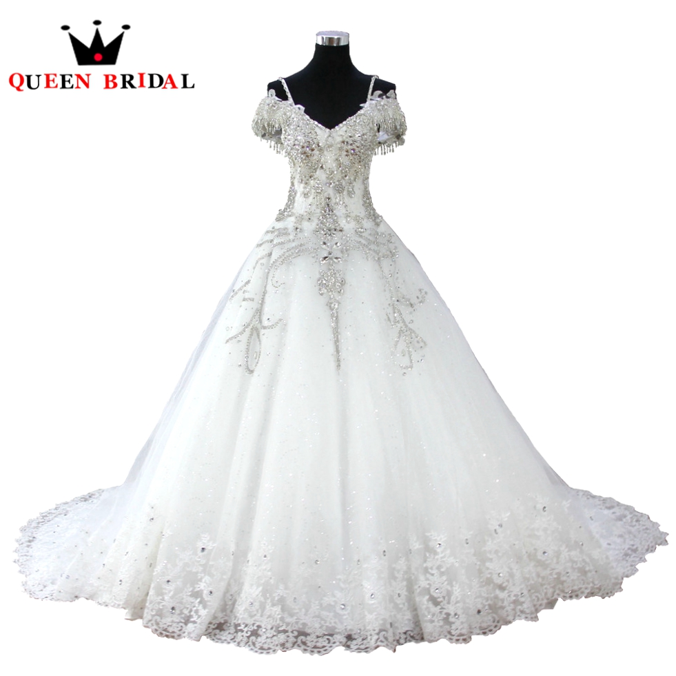 Queen bridal wedding dresses ball gown crystal beading for Diamond ball gown wedding dresses