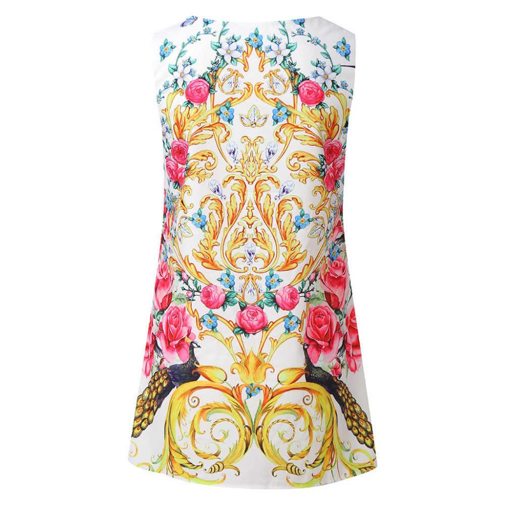 2019 ドレスの女性のファッションノースリーブ女性ギフトプリントドレスエレガントサマーカジュアルドレス高品質女性ローブフェムセクシーホット販売 DD5