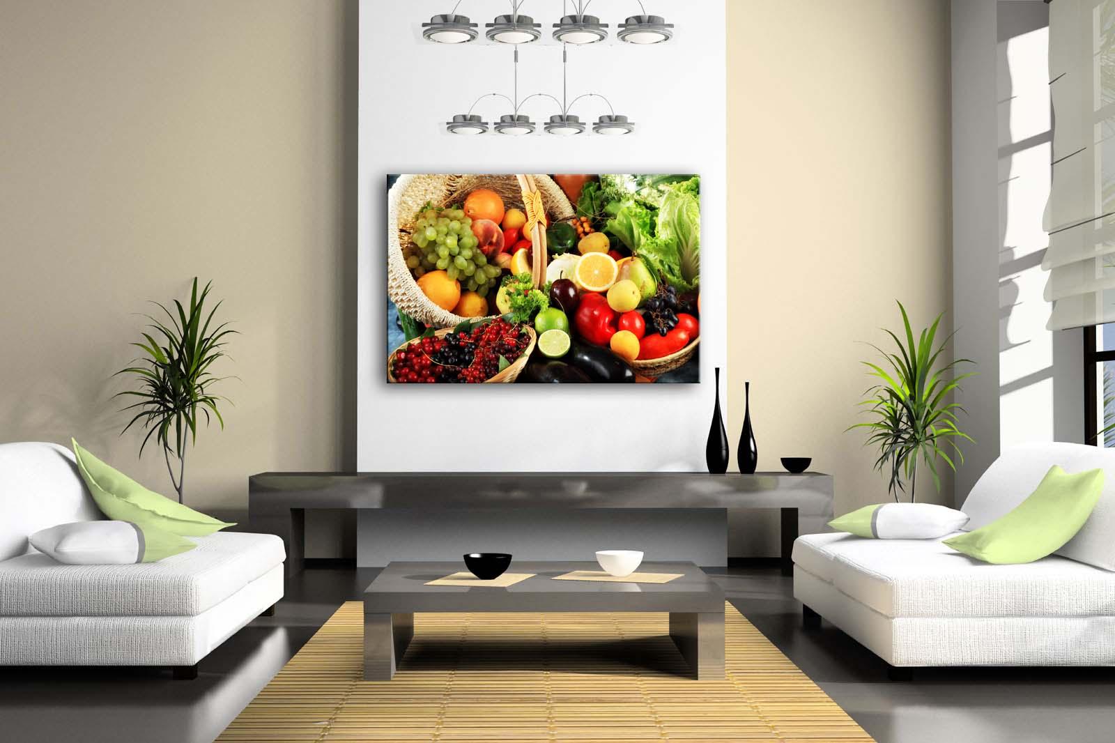 Gerahmte Wand Kunst Bild Obst Korb Leinwand Drucken Lebensmittel Moderne Poster Mit Holz Rahmen Für Wohnzimmer Home Office Decor - 2