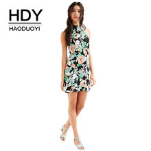 HDY Haoduoyi Brand Women Multi Floral Printed Sexy Dresses O-Neck Backless Cold Shoulder Sleevelss Sweet Elegant Vestidos Lady(China)