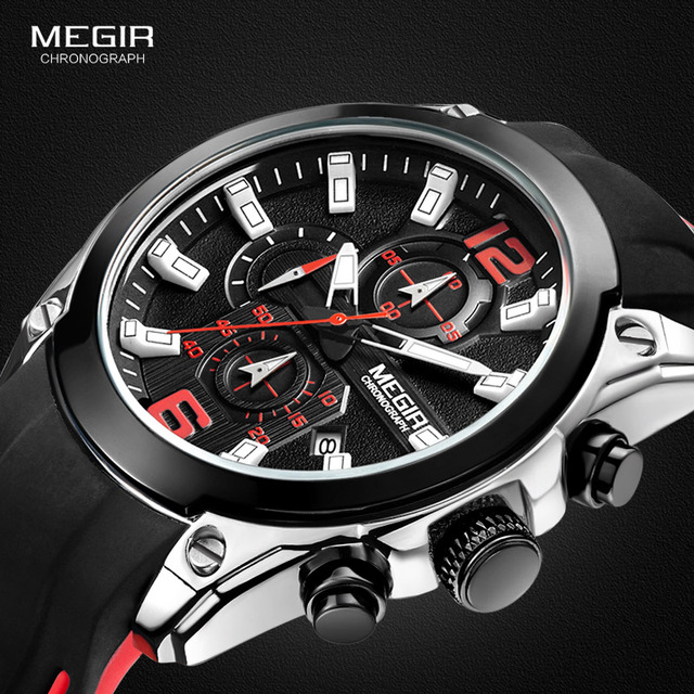 Megir herren Chronograph Analog Quarz Uhren Mode Rubber Strap Sport Armbanduhr mit Leucht Hände für Jungen 2063GS BK 1