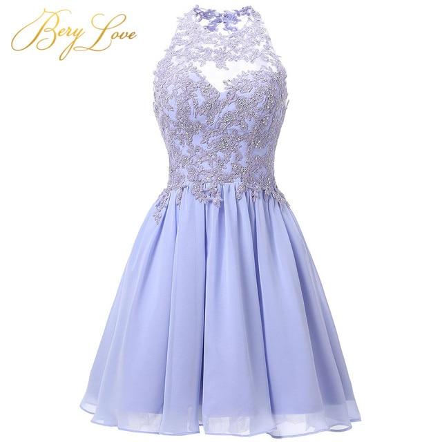 Short Lavender Homecoming Dress 2019 Mini Beaded Lace vestido de formatura Open Back Graduation Prom Gown mezuniyet elbiseleri