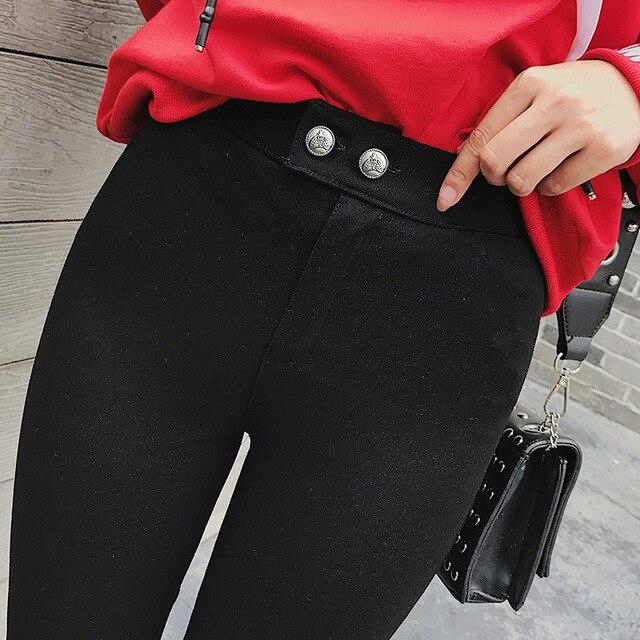 Women's Skinny Elastic black Pants Pencil Trousers Ladies Jean Trousers Female High Waist Pants Office Ladies Outwear
