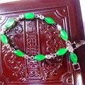 Linda natural pulseira jade verde 925 Inserção de prata jade pulseira Mulheres presente da jóia requintado frete grátis