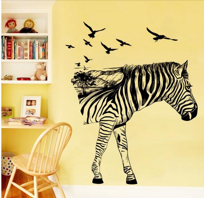 Наклейки на стену самоклеящиеся обои креативная Личность Зебра силуэт теплая спальня гостиная фон Декор
