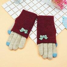 Winter Female Fashion Touch Covers Fingers Crochet Gloves Casual Velvet Flower Lace Glove 2016 Women Knitting Bow Warm Gloves