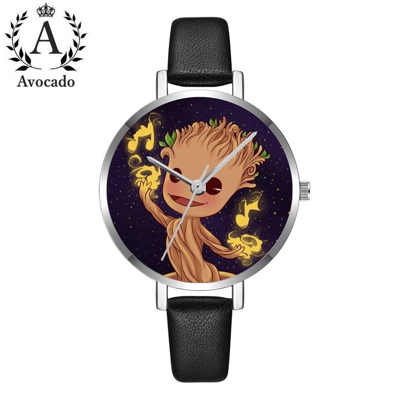 Cartoon Groot Watch Girls Women'S Watch Leather Fashion Stars Quartz Watch Kids Children'S Relogio Feminino Montre Wristwatch Cl