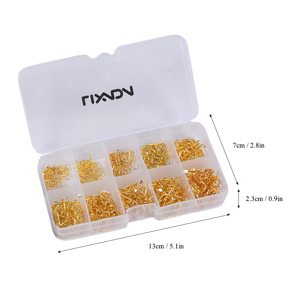 Lixada 600pcs Fishhooks Fish Jig Hooks with Hole Fishing Tackle Box 3# -12# 10 Sizes Carbon Steel Fishing Tackle Fishing hooks