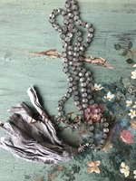 Shabby BoHo Necklace Sari Silk Tassel Boho Glam Knoting Matte Gray Crystals Beads Necklace N17081610