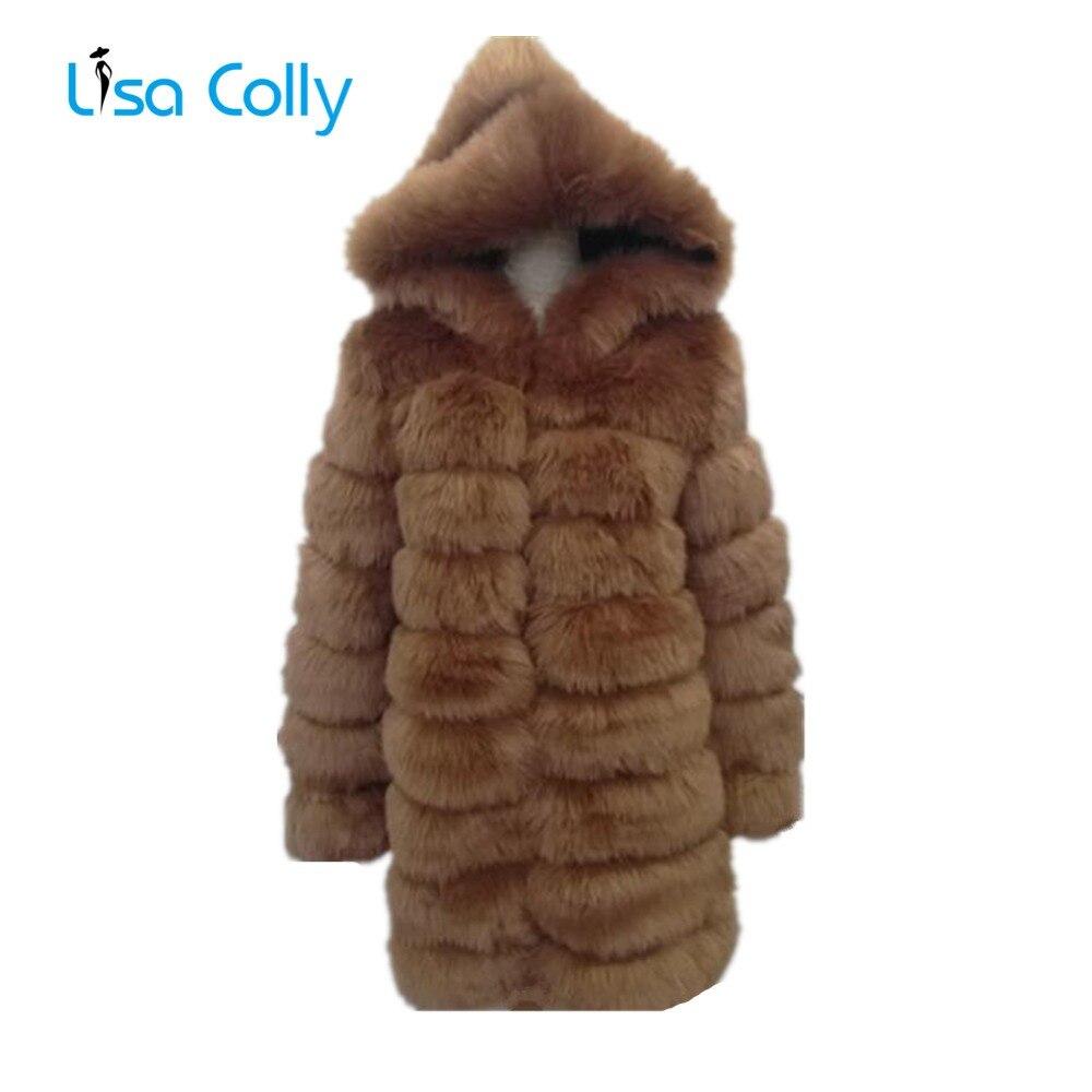 Lisa Colly Mulheres Faux Fur Coat Jacket com capuz Falso Casaco de Pele De Raposa Mulheres Inverno Casacos de Pele Artificial Casaco Grosso casaco de peles