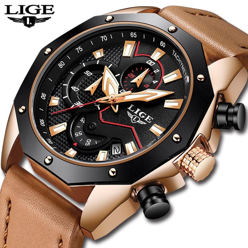 2018 LIGE Mens Watches Top Brand Luxury Business Leather Quartz Watch Men's Military Waterproof Sports Watch Relogio Masculino