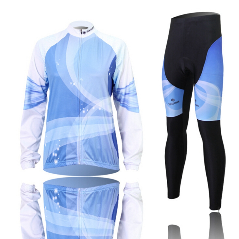 Hot XINTOWN Women Bike Long jersey Pants Blu-ray Pro Team Cycling clothing Riding Top MTB Wear Long Sleeve Shirts