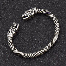 Neo-Gothic Viking Open Wolf Head Silver Bracelet, Adjustable Opening Punk Golden Bracelet