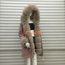 2018 Real fur coat fox parkas winter jacket coat women parka big real raccoon fur collar natural fox fur liner long outerwear
