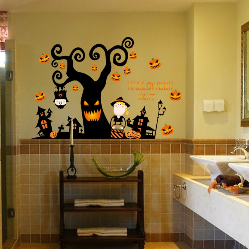 Happy Halloween Pumpkins Spooky Cemetery Witch and Bats Tomb Wall ...