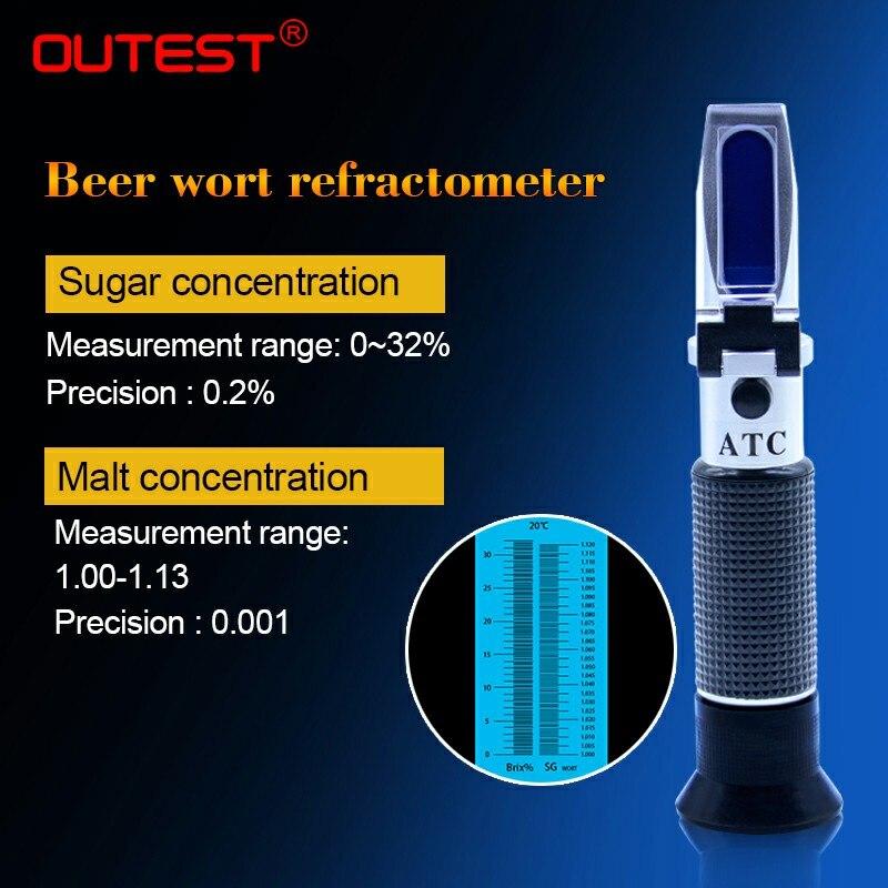 Bière Réfractomètre 0-32% Sucre Compteur Moût Hydromètre Testeur de Vin Réfractomètre Malt 1.0 ~ 1.13, Sucre RZ129
