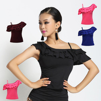 Fashion Adult Ballroom Costume Spaghetti Strap Sexy Latin Dance Top For Women Female Vogue Short Sleeve