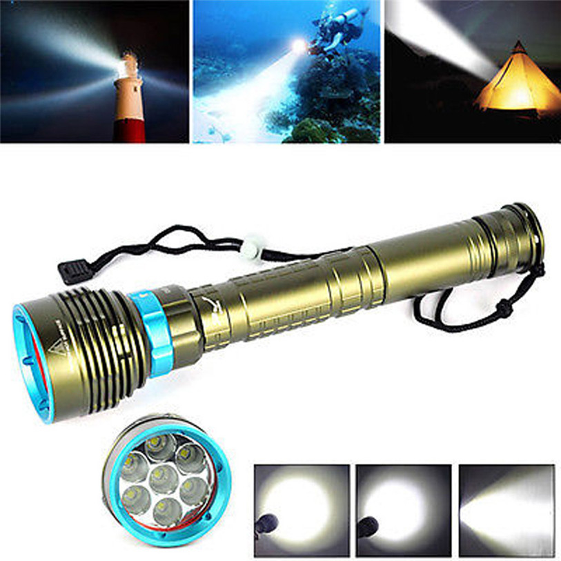 все цены на Underwater 200m 20000LM 7x XM-L2 LED Scuba Diving Flashlight 3X18650/26650 Torch Bike Cycling Accessories High Quality Mar 31