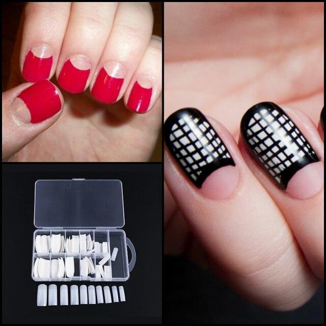 100pcsnatural Medium Oval Round Short False Nails Tips Full Cover French Fake Nail Art Acrylic