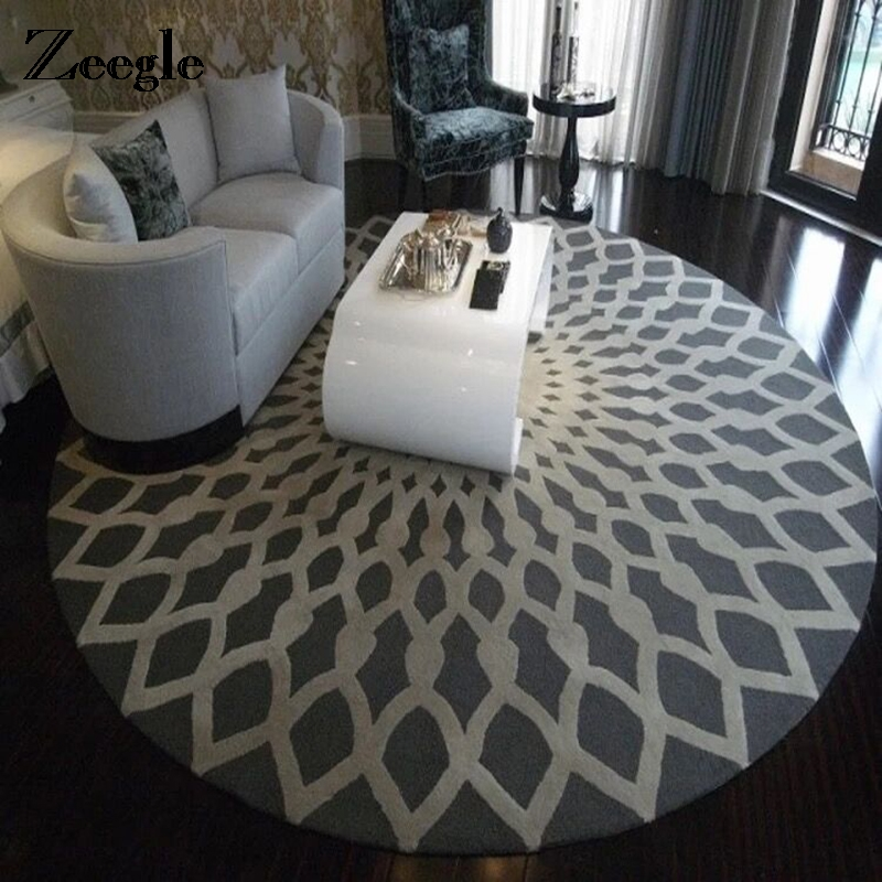 Zeegle Nordic Gray Series Round Carpets For Living Room