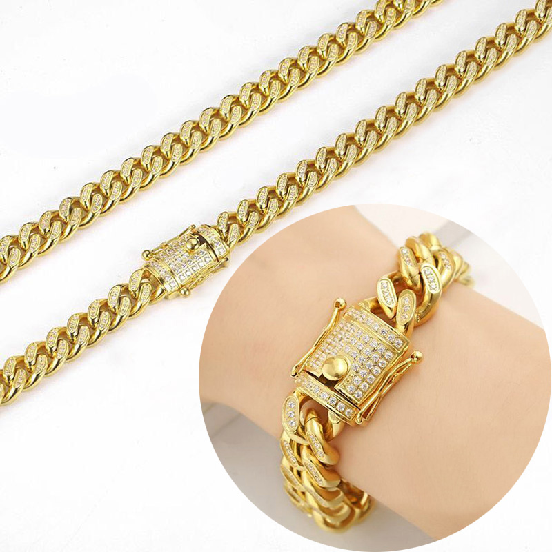Bracelet à chaîne cubaine en acier inoxydable pour hommes et femmes, plein CZ Hip Hop glacé bijoux Bling Double fermoirs de sécurité 10mm-18mm - 4