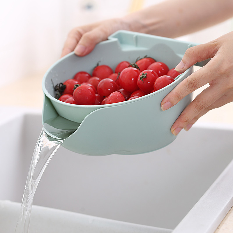 Plastic Fruit Bowl Double Detachable Drain Fruit Bowl Plate Candy Dish Fruit Box Melon Seeds Fruit Container Mobile Frame Suppor