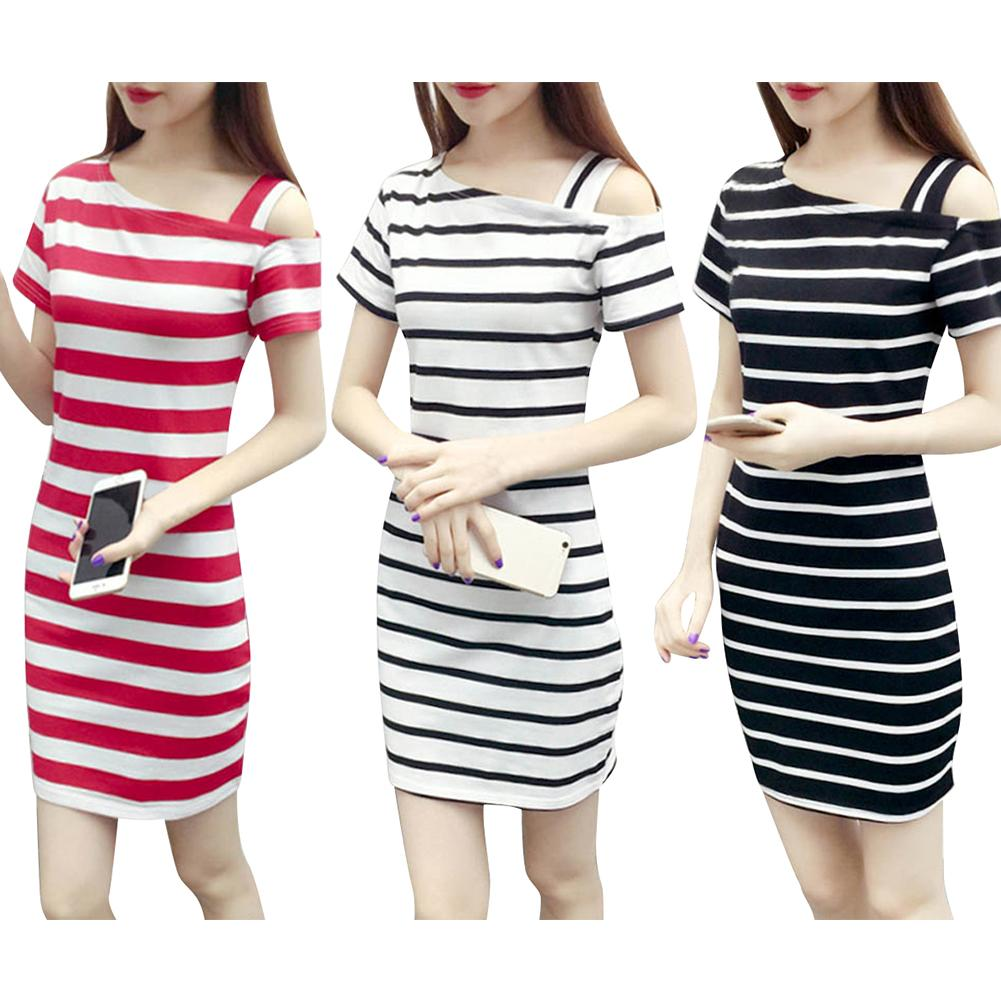 New 2018 Summer Women Dresses Boat Neck Oblique Shoulder Cotton Striped Medium Style Short-sleeved Casual Dress Femme