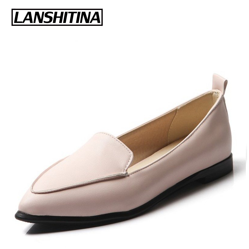 Womans Flats Soft Loafers Shoes Women Sweet Pointed Toe Flats Casual Fashion Quality Sewing Simple Style Shoes Size 34-43 G1102 new 2017 spring summer women shoes pointed toe high quality brand fashion womens flats ladies plus size 41 sweet flock t179