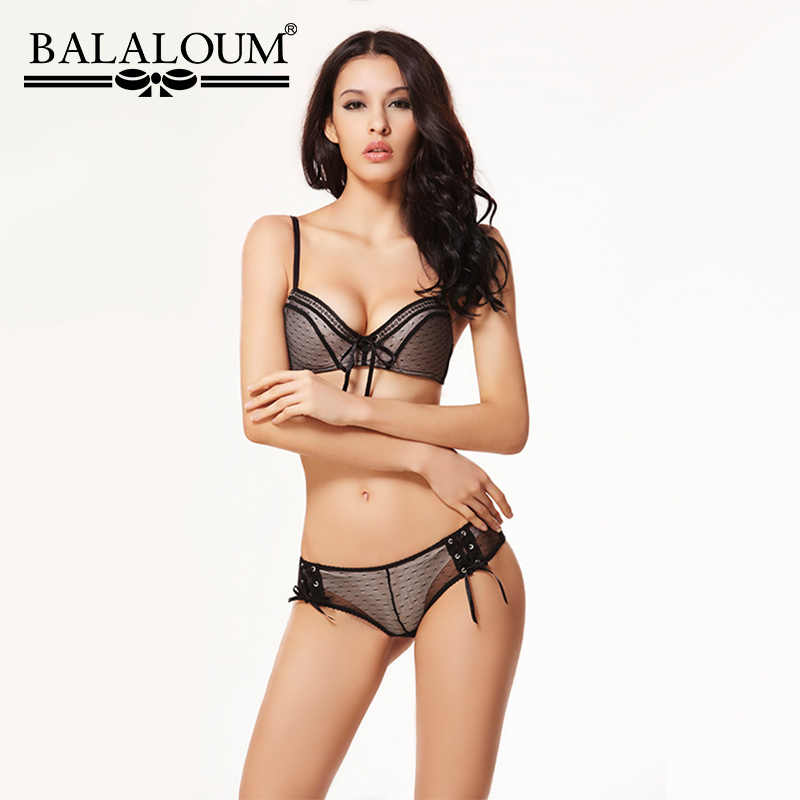 1a9a408817 Balaloum Women Sexy Lace Up Push Up Bra Brassiere and Panty Sets Seamless  Transparent G-