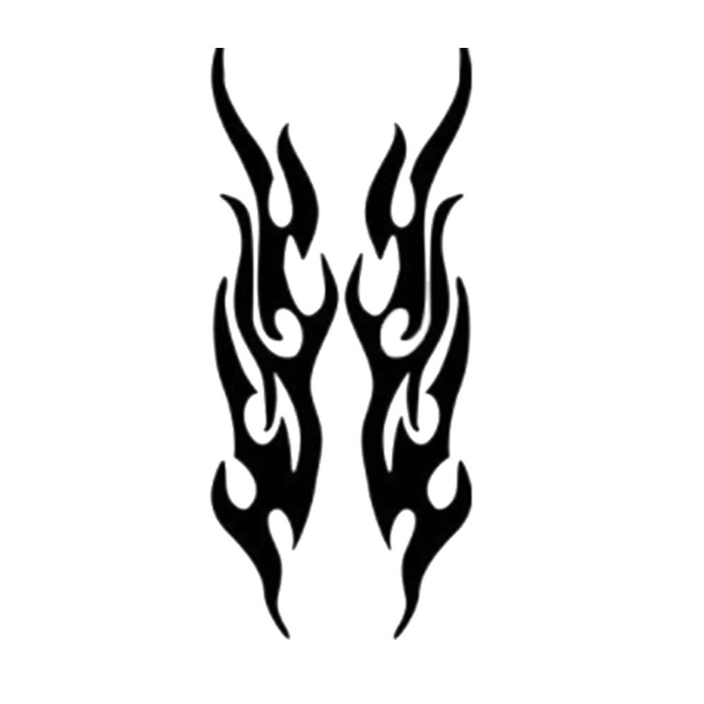 Pair Motorcycle Car Black Stickers 3D Flame Fire