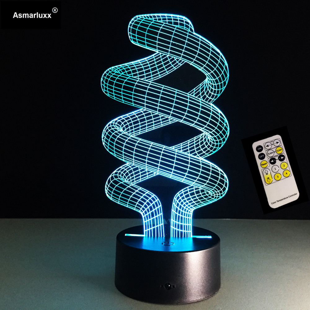 3D Optical Illusion LED Table Light Remote Or Touch Control USB Cable Desk Lamp Christmas Halloween Decorations Spiral Deco Lamp