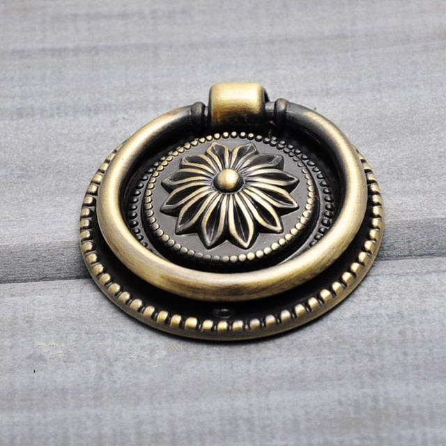 Top Free Shipping Single Hole Antique Bronze Ring Pulls Round Cabinet  IA84