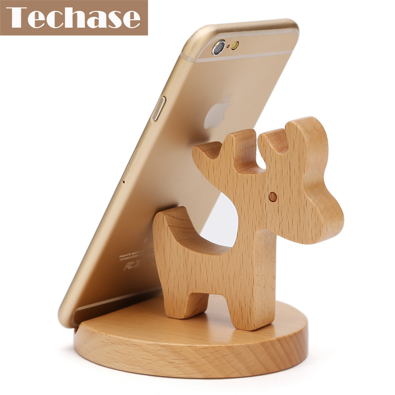 Techase Deer Design Cartoon Mobile Phone Holder Wooden Suporte Celular Desk Stand Base celulares android original todas maras