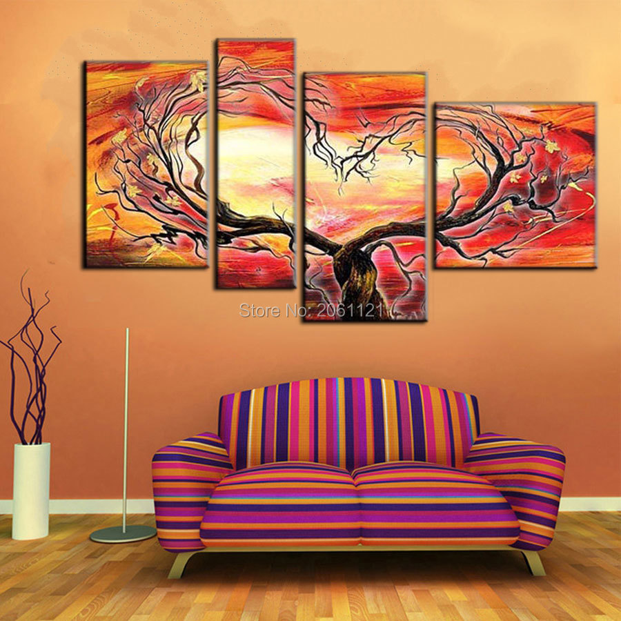 Affordable Wall Decor: Handpainted 4 Piece Cheap Canvas Wall Art Red Design Tree