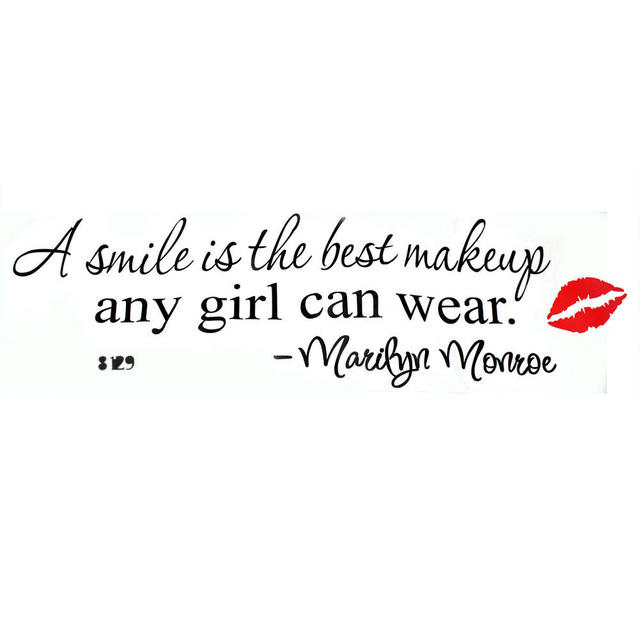 Removable A Smile Is The Best Makeup Room Decor Art Letters Quote