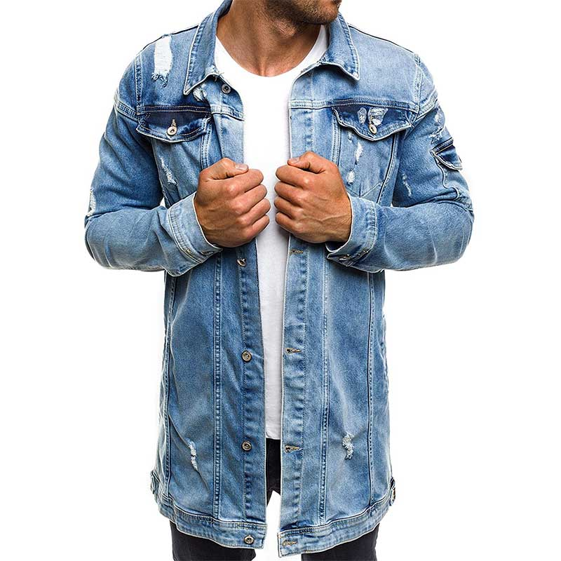 Mcikkny New Fashion Men's Ripped Denim Jackets Washed Distressed Long Sleeves Jeans Jackets For Male Outwear Coats Multi Pockets