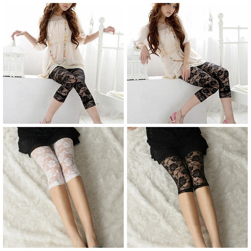 1 Pcs Ladies Short Cropped Stretchy   leggings   Comfortable Stylish Floral Lace Print Womens Thin   Leggings   YYY9782