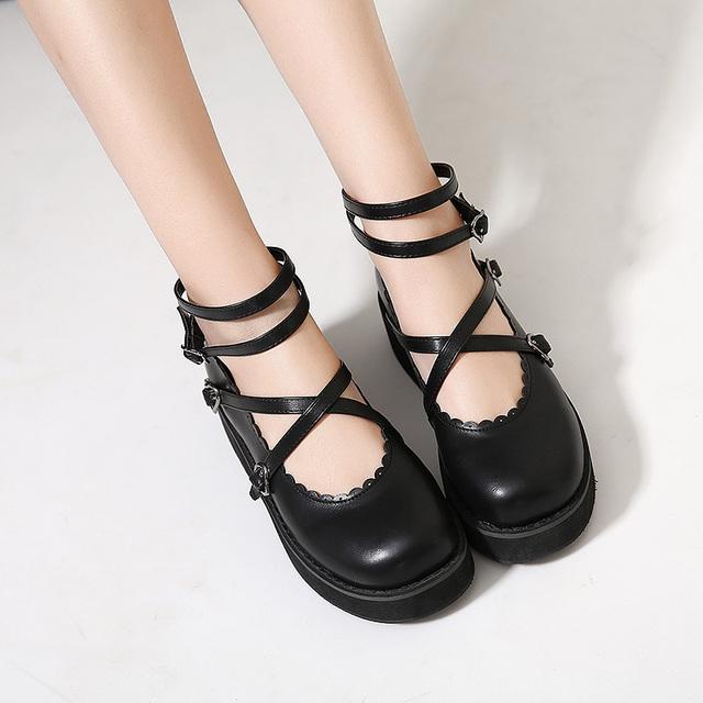 Dedo do pé redondo sapato de Estudantes Princesa Mulheres Sapatos cosplay cinta corss sapatos lolita
