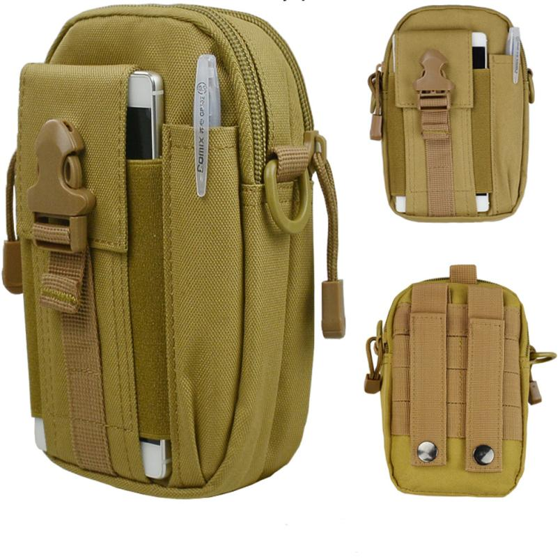 waterproof kaki color Tactical Molle Pouch Belt Waist Pack Bag Military Waist Fanny Pack Pocket ttached to a backpack JLY0802