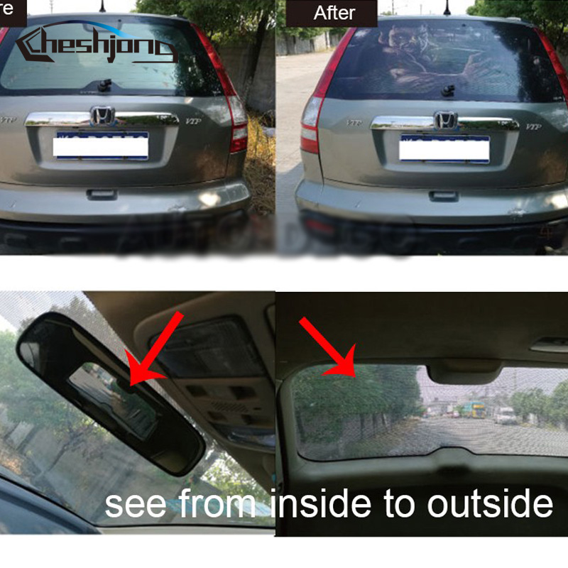 Image 3 - New Arrival Car Rear Window Film Car Rear Windshield Tint One Way Vision Printed Mesh Film-in Car Stickers from Automobiles & Motorcycles