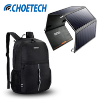 CHOETECH 24W Portable Solar Charger For Samsung S8 S7 Dual USB Port Solar Mobile Phone Charger