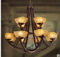 Слой дом огни моды lampsnew мода большой подвесной светильник из кованого железа освещение лестницы лампы двойной ZCL