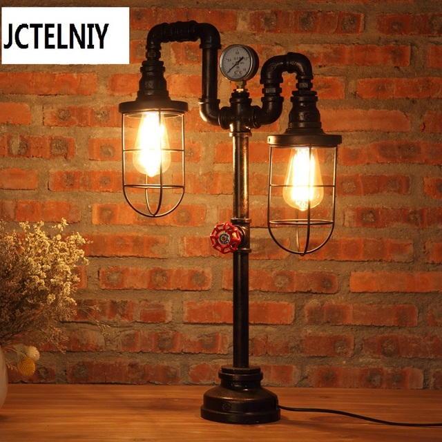 steampunk lampe pipe lamp industrial chic light loft vintage table robot edison lamps lamper