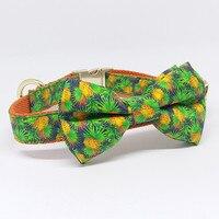 Ананас собака галстук-бабочка воротник с поводка, персонализированные лазерной гравировкой Имя, telphon, Размер 5 выбрать для вашего питомца