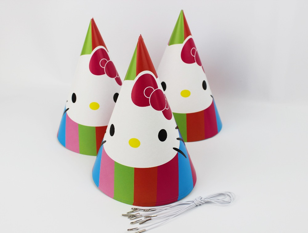 6pcs Happy Birthday Party Decoration Cute Child Hello Kitty Cartoon Pattern Birthday Paper Hat Event Kids Party Supplies