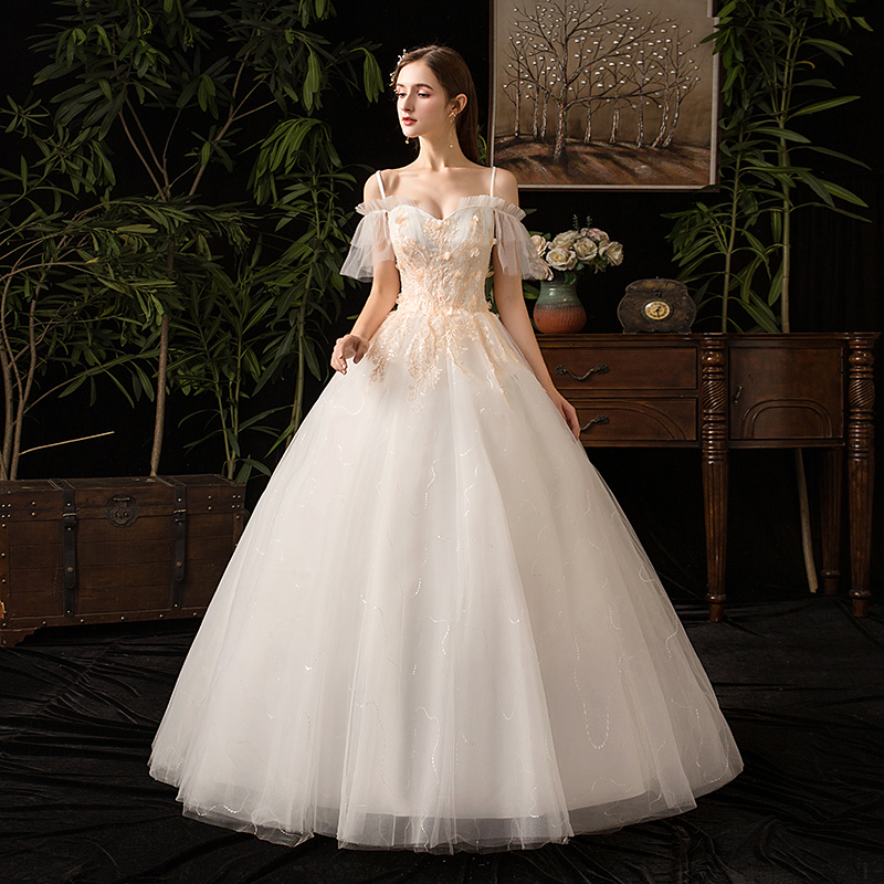 Mrs Win 2020 Spaghetti Straps Wedding Dress With Champange Lace Off The Shoulder Ball Gown Princess Wedding Dress Plus Size X