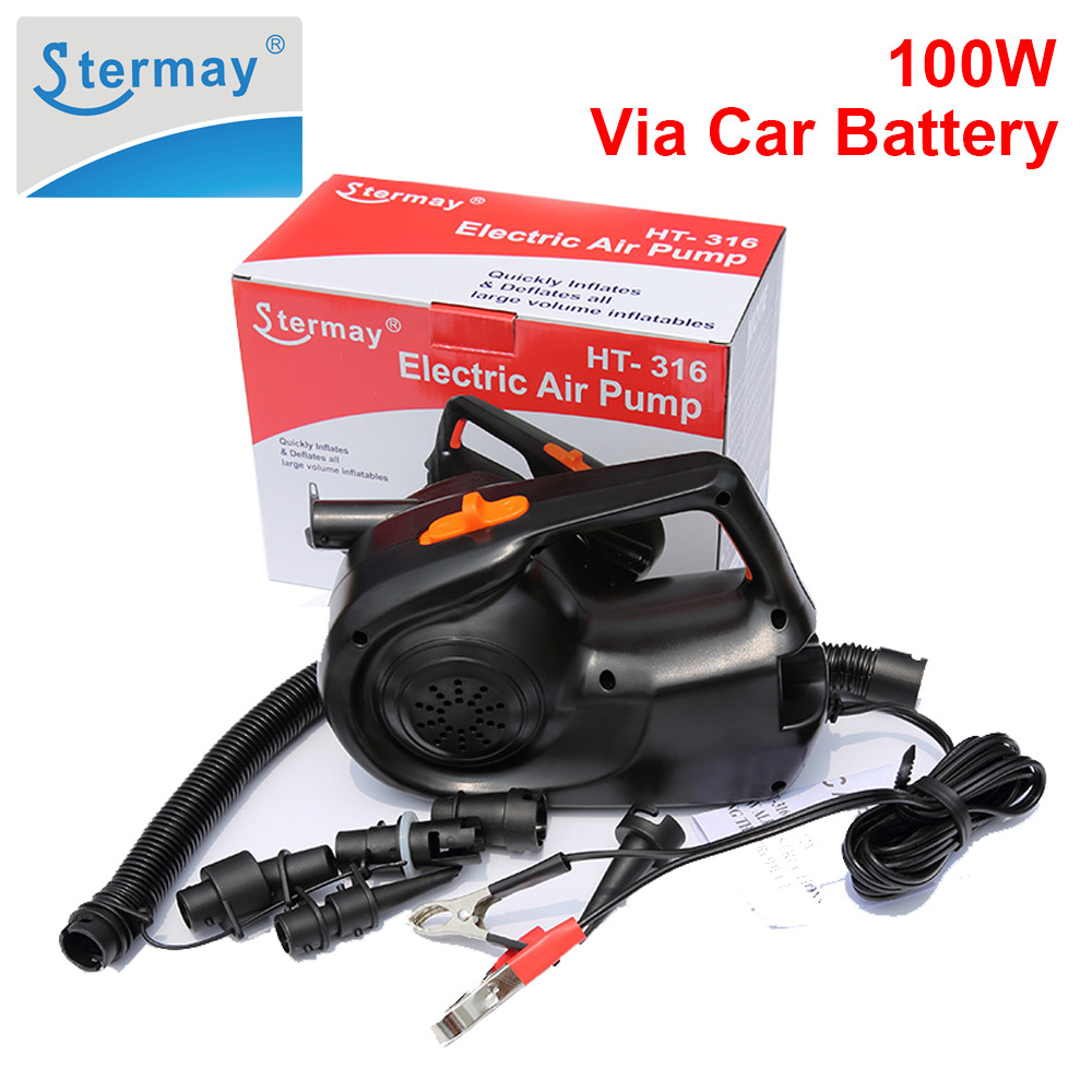 Stermay HT 316 100W Power Inflatable Pump Electric Air pump for Inflatable Boat Bed Mattress Powered